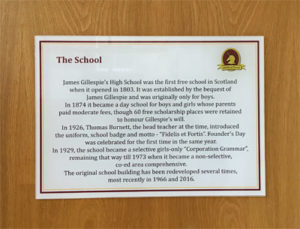 Plaque about James Gillespie's High School