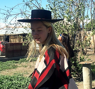 Eva in traditional costume in Chile